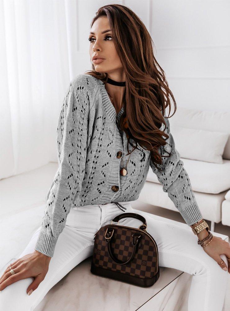 Szary ażurkowy sweterek na guziki Elloni