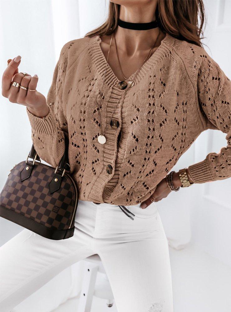 Ażurkowy sweterek na guziki Elloni -...