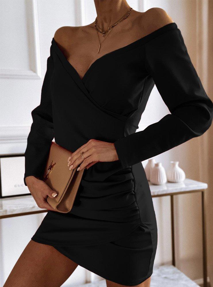 Czarna sukienka przekładana Zolia
