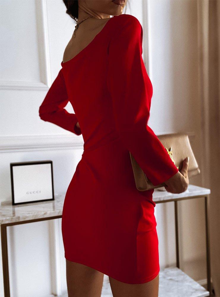 Malinowa sukienka przekładana Zolia