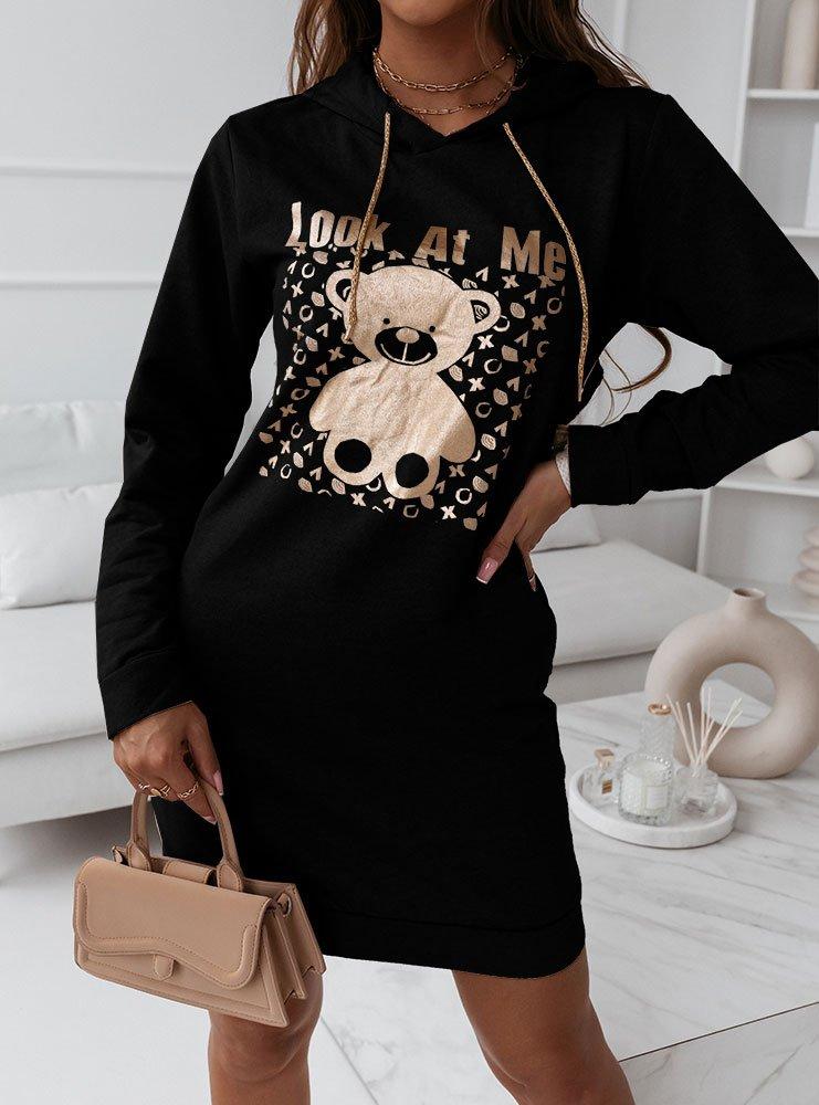 Czarna sukienka sportowa z modnym...