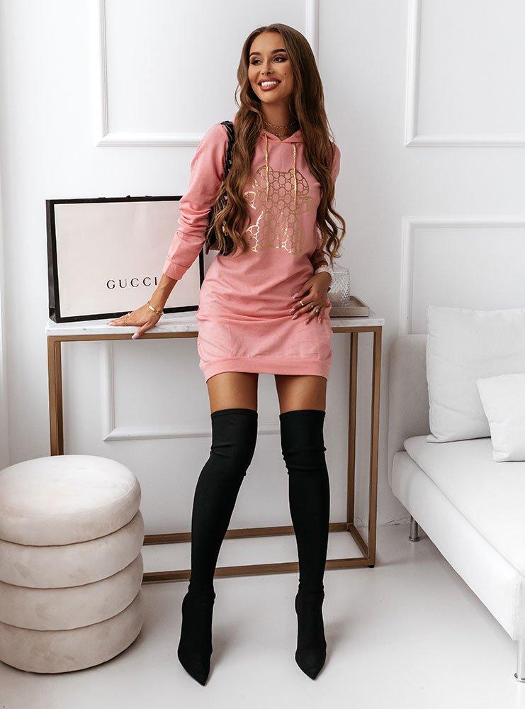 Różowa sukienka sportowa z kapturem i...