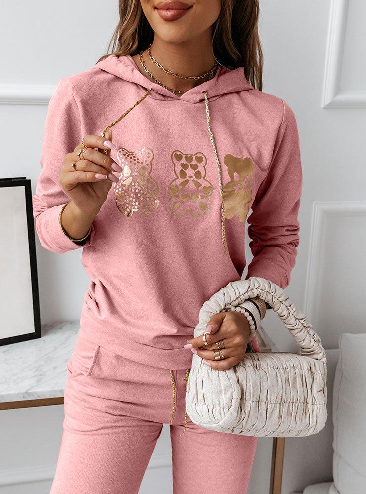 Różowy komplet dresowy z nadrukiem Calia
