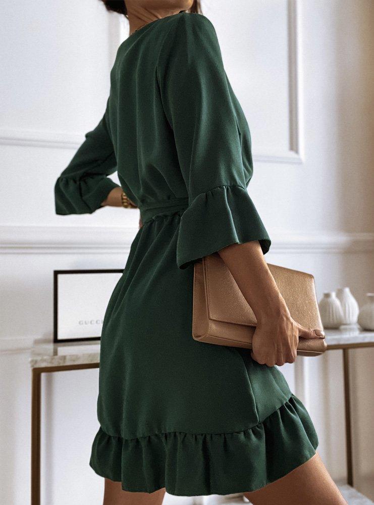 Sukienka z falbanką i wiązaniem...