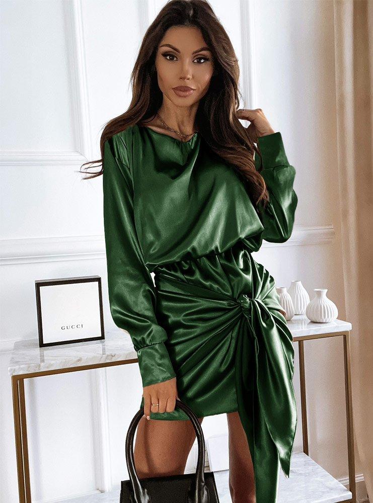 Satynowa sukienka z wiązaniem Sallira - butelkowa zieleń