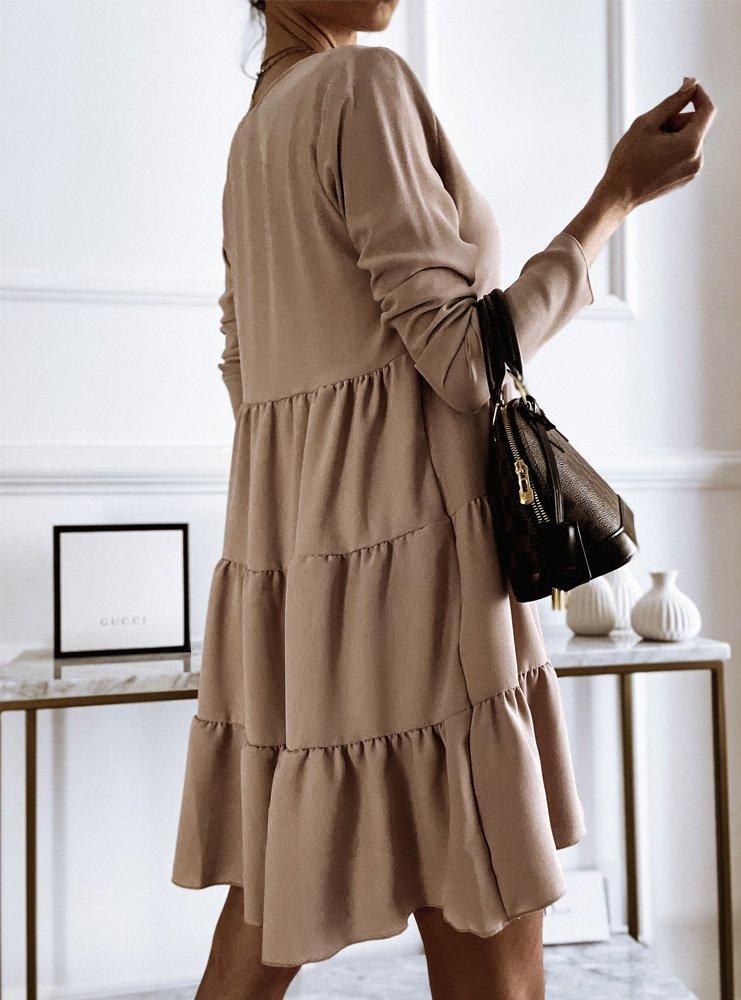 Beżowa trapezowa sukienka z...