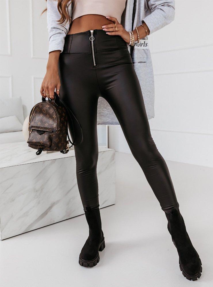 Czarne legginsy z imitacją skóry i...