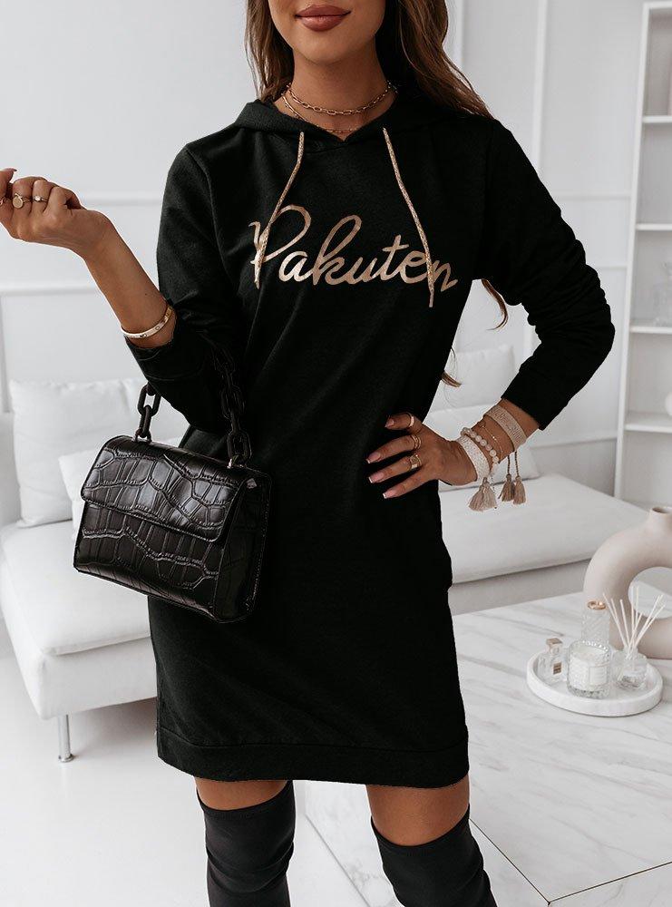 Czarna sukienka sportowa z nadrukiem...