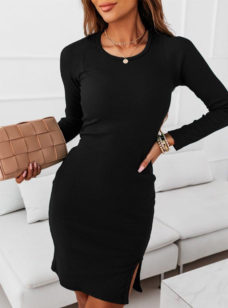 Czarna dopasowana prążkowana sukienka...