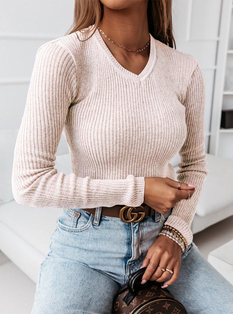 Sweterek z dekoltem w serek Rori - ecru