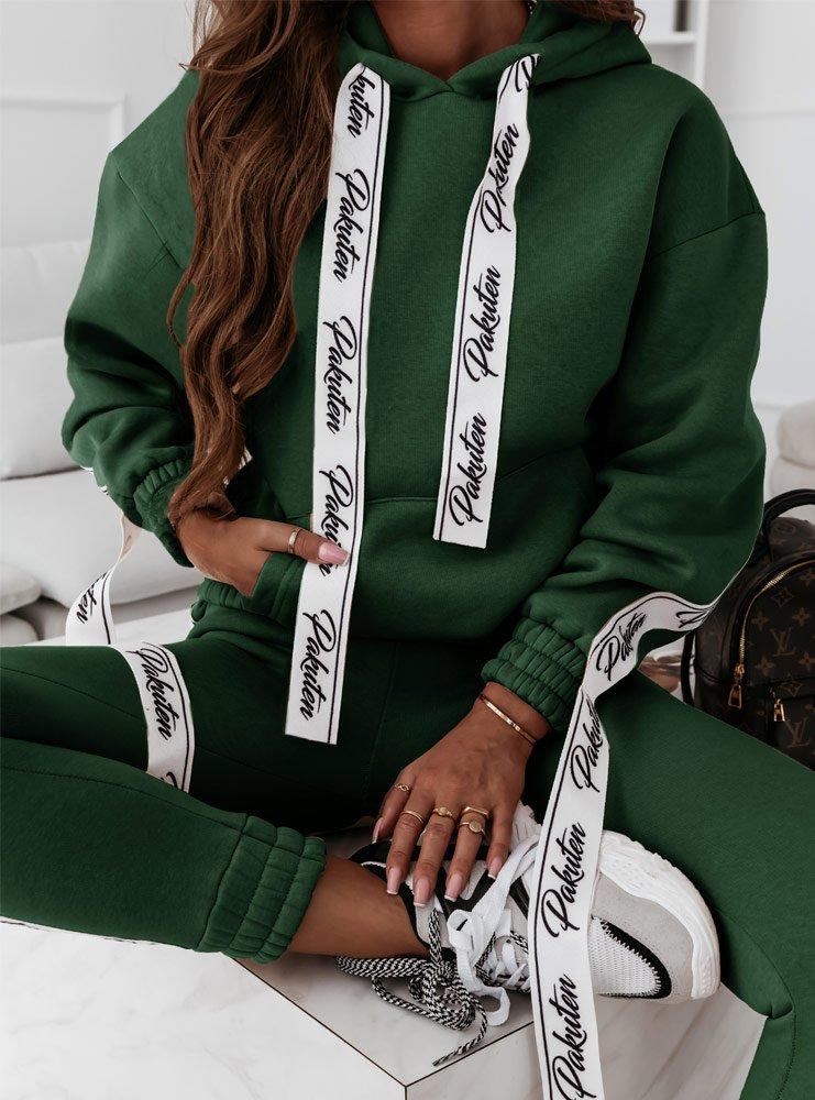 Komplet dresowy z taśmami Roxiss - butelkowa zieleń