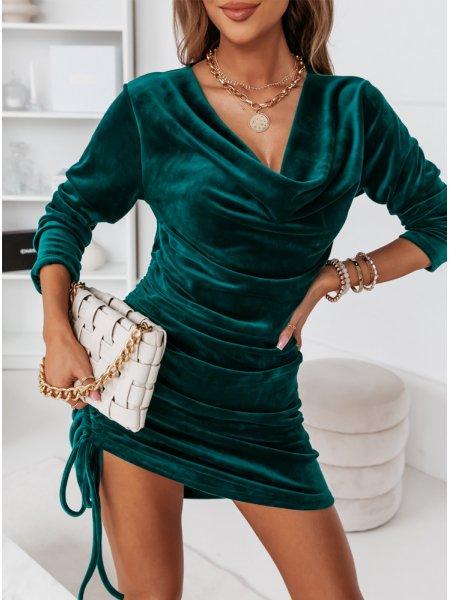Welurowa sukienka ze...