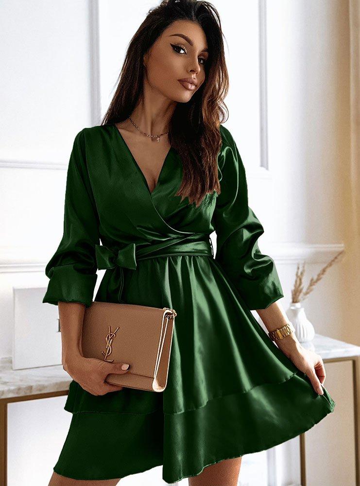 Satynowa sukienka z podwójną falbanką...