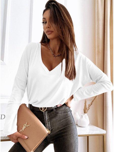 Biała klasyczna bluzka z...