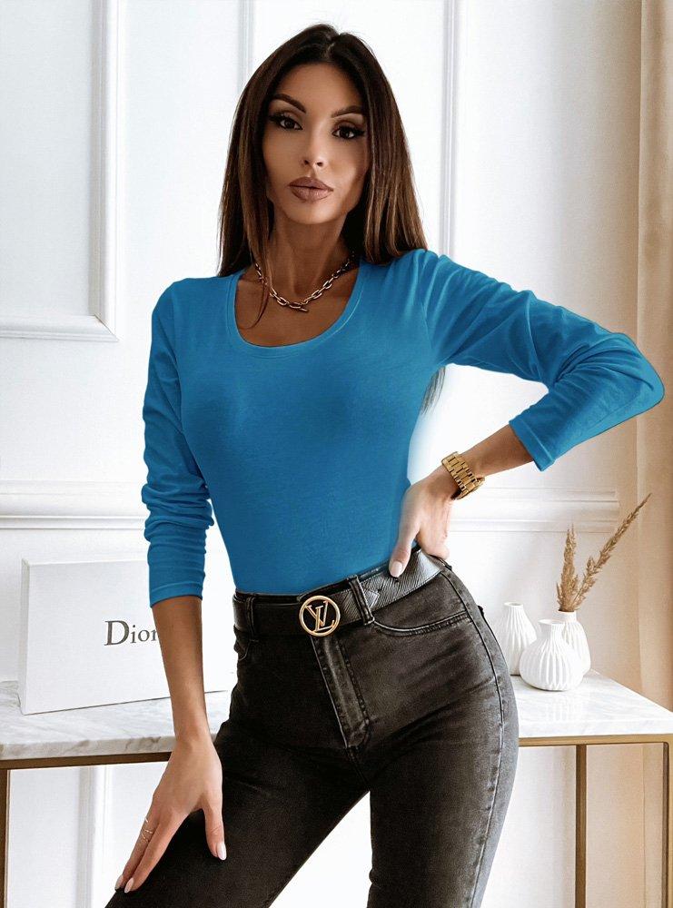 Niebieska bluzka na długi rękaw Falon