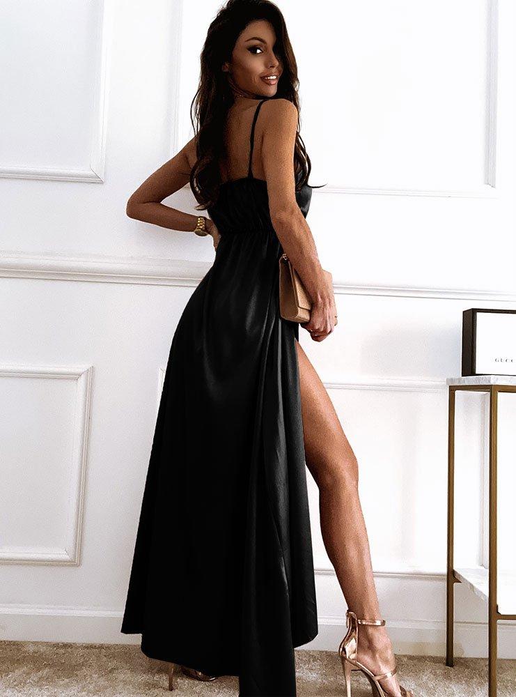 Czarna satynowa sukienka maxi z...