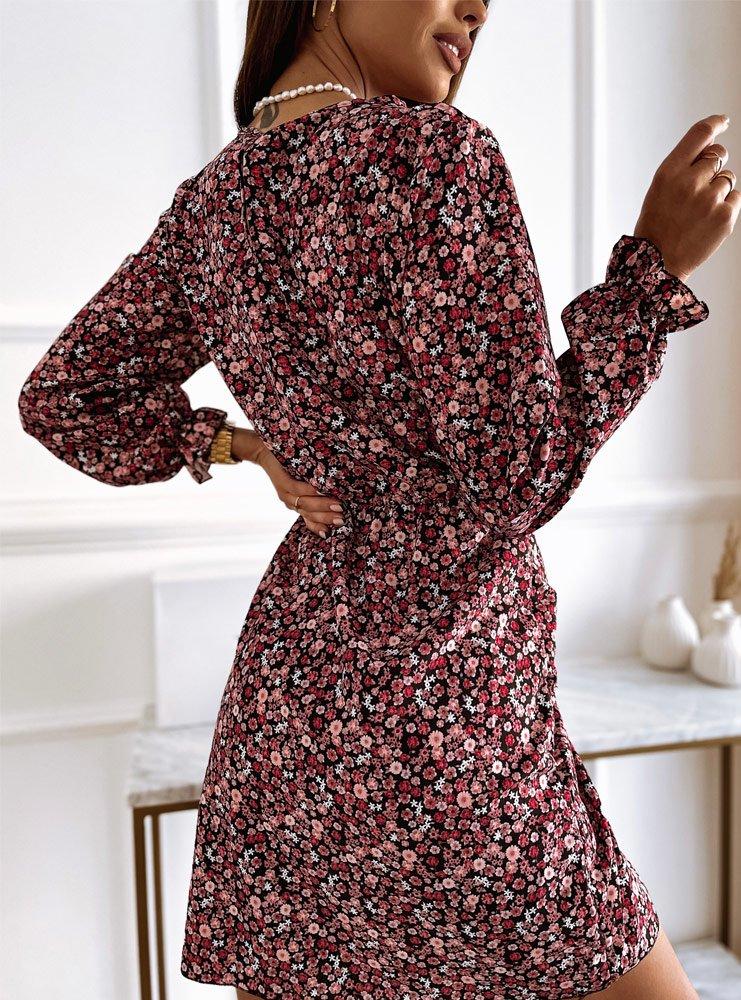 Malinowa sukienka w kwiatki z...