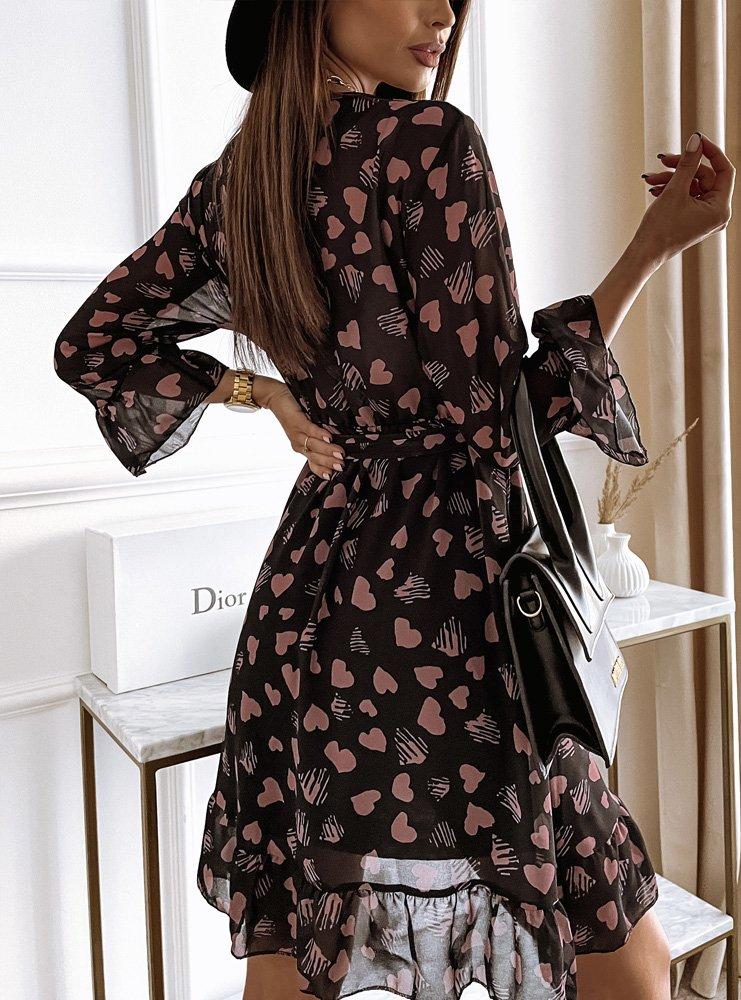 Wzorzysta sukienka z przekładanym...
