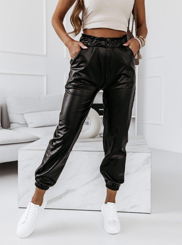 Czarne spodnie z eko skóry ze...