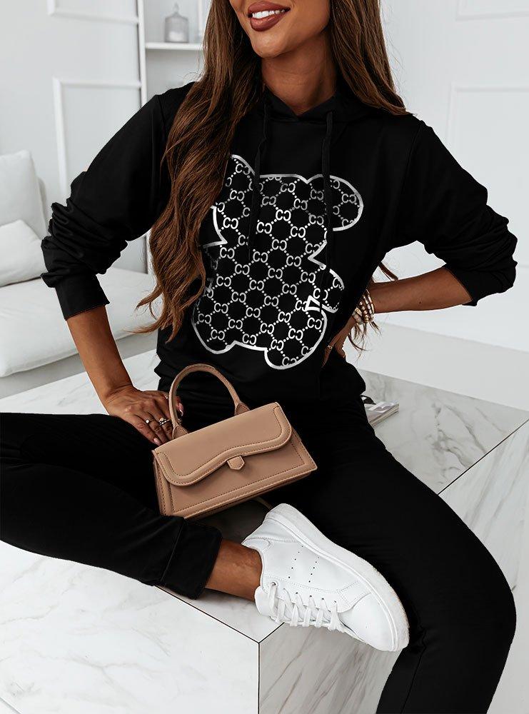 Czarny komplet dresowy z modnym...