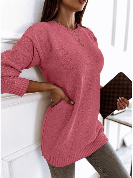 Różowy długi sweter z...