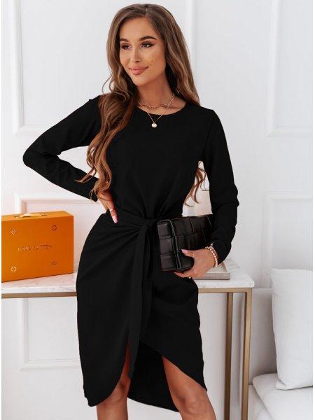 Czarna sukienka z wiązaniem...