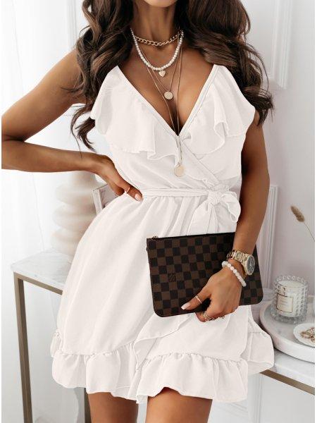 Biała sukienka z falbaną...