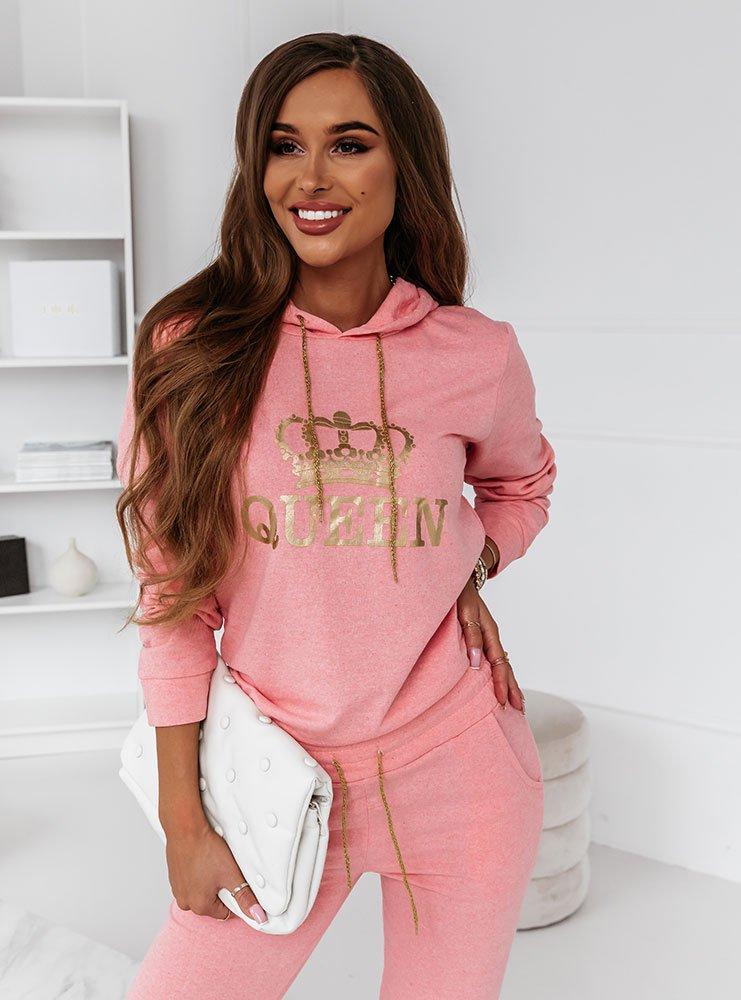 Różowy komplet dresowy z nadrukiem Rewetaa