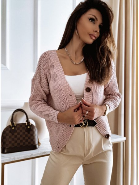 Pudrowy rozpinany sweterek...