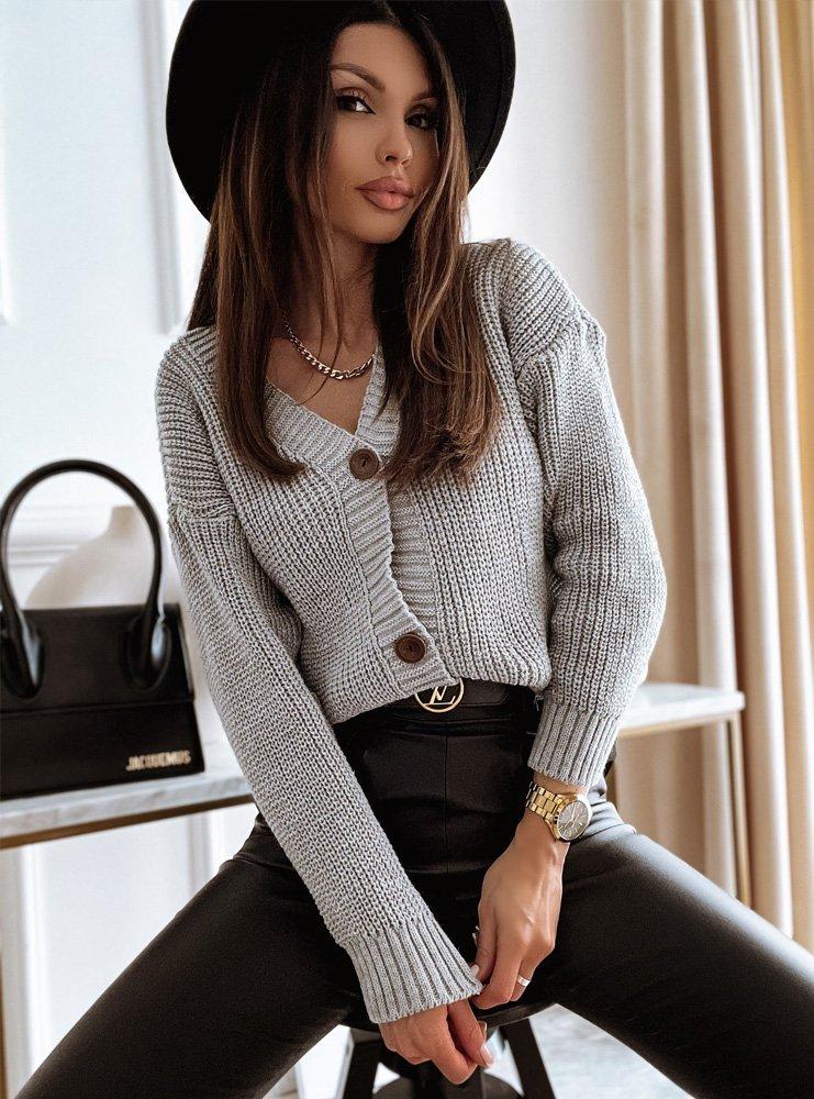 Szary rozpinany sweterek z ozdobnymi guzikami Cosima