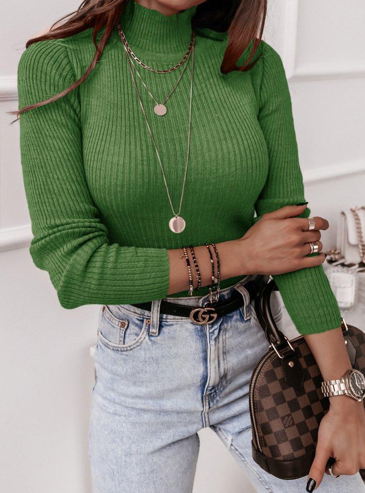 Zielony sweter prążkowany z golfem Cyne