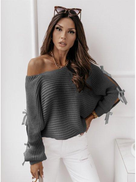 Grafitowy sweterek z...