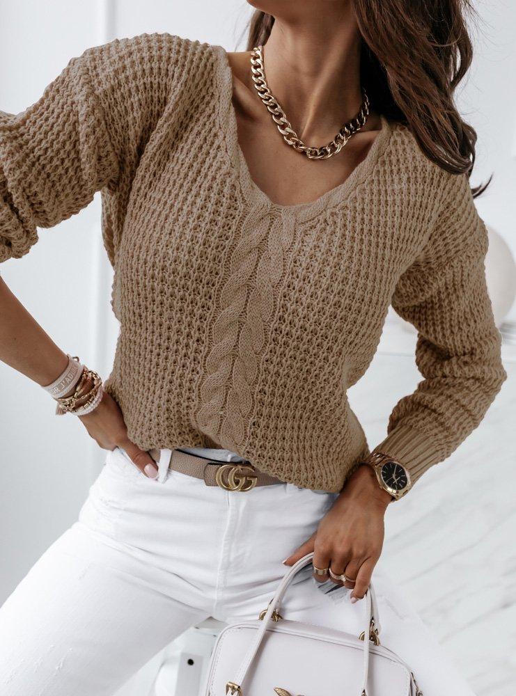 Sweter z dekoltem w szpic Allana -...