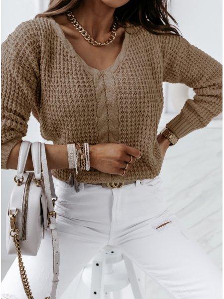 Sweter z dekoltem w szpic...