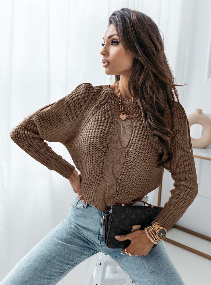 Sweter z warkoczowym splotem Rozenn -...