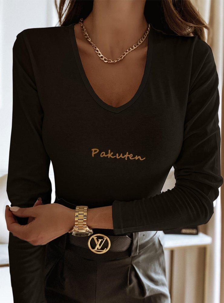 Czarna logowana bluzka na długi rękaw...