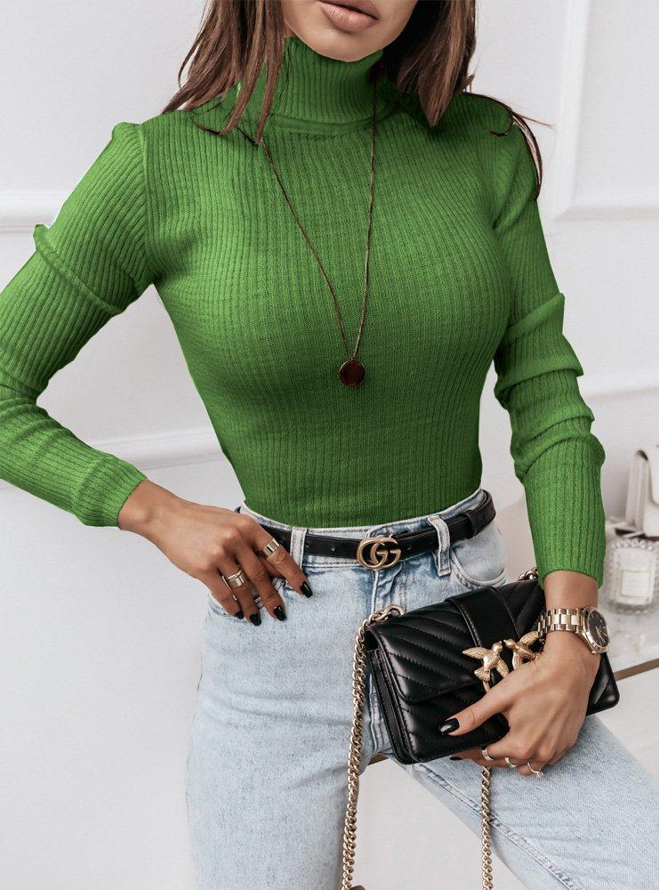 Zielony sweter prążkowany z golfem Aila