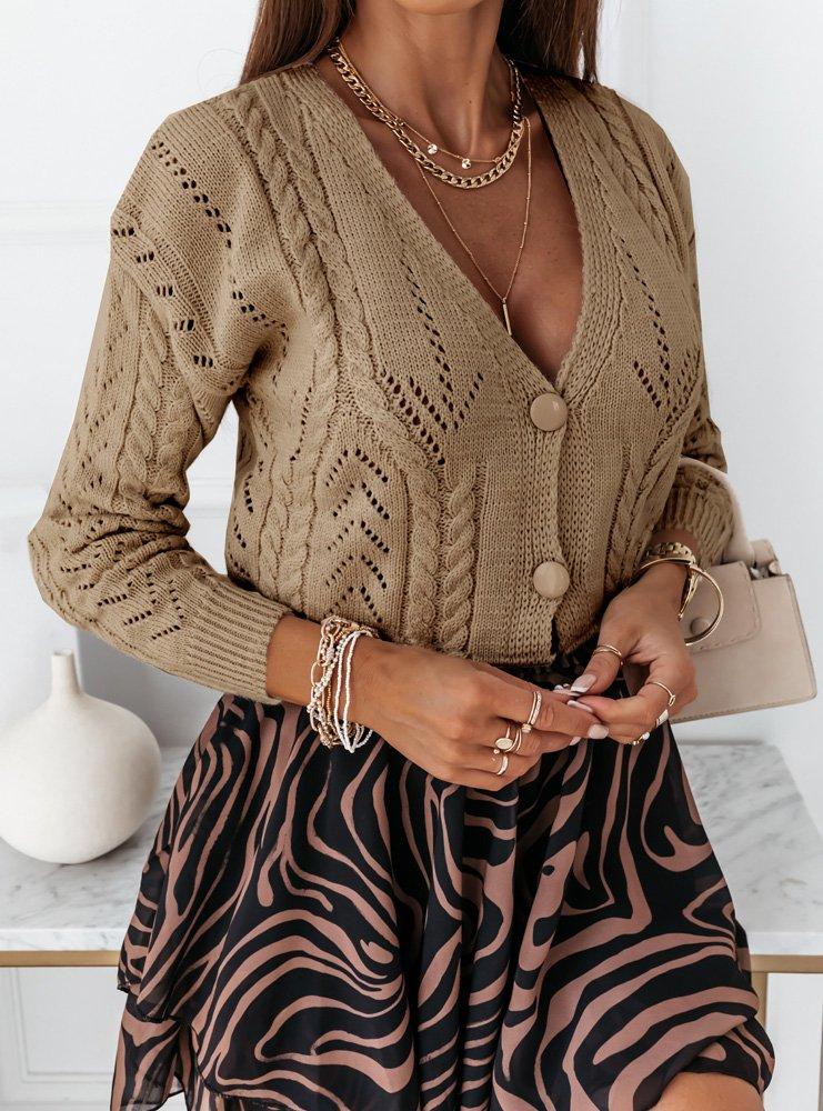 Sweter z ozdobnym splotem podwójnego...