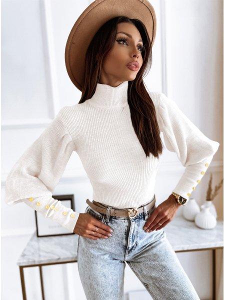 Biały prążkowany sweterek z...