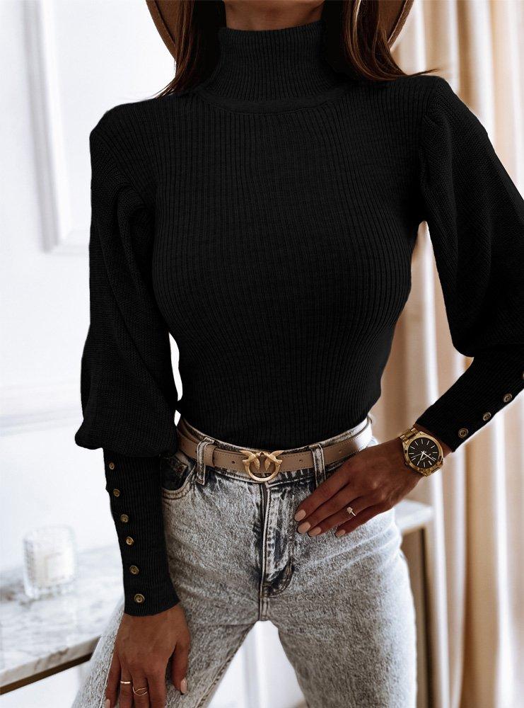 Czarny prążkowany sweterek z...