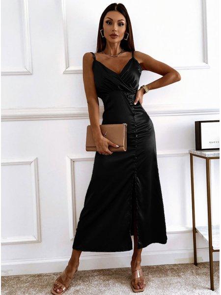Czarna sukienka satynowa na...