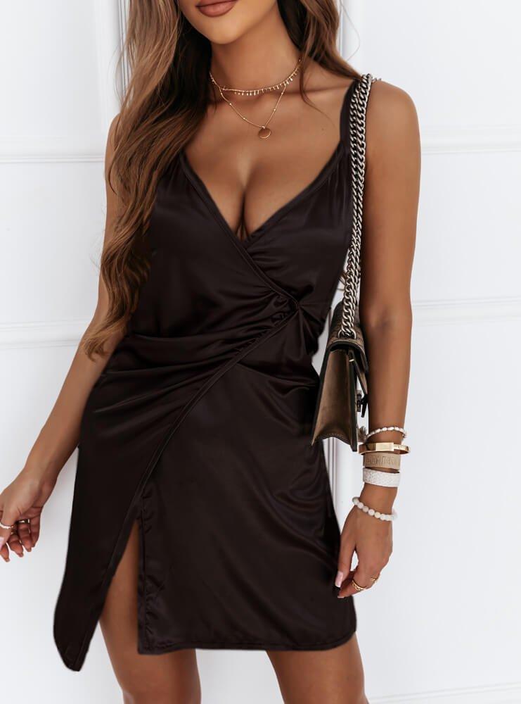 Czarna satynowa sukienka na...
