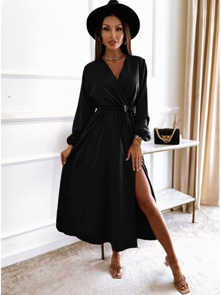Czarna sukienka satynowa z...