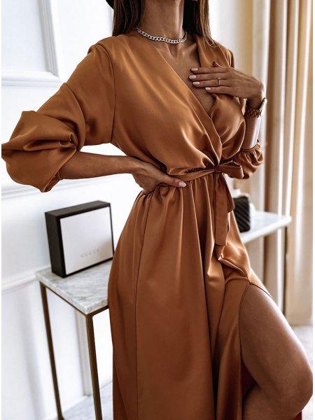 Karmelowa sukienka satynowa...