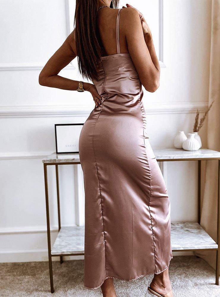 Satynowa sukienka na ramiączkach z...