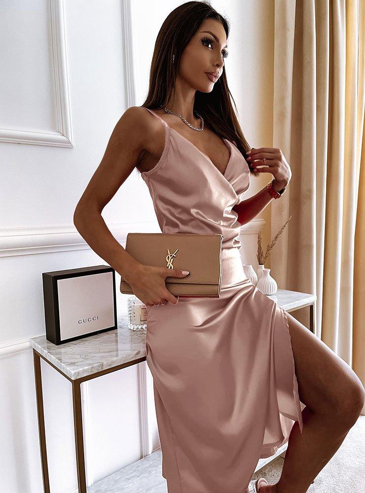 Satynowa sukienka z przekładanym...