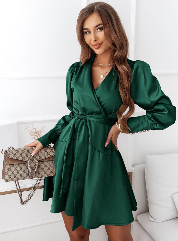 Satynowa sukienka z paskiem Sessy -...