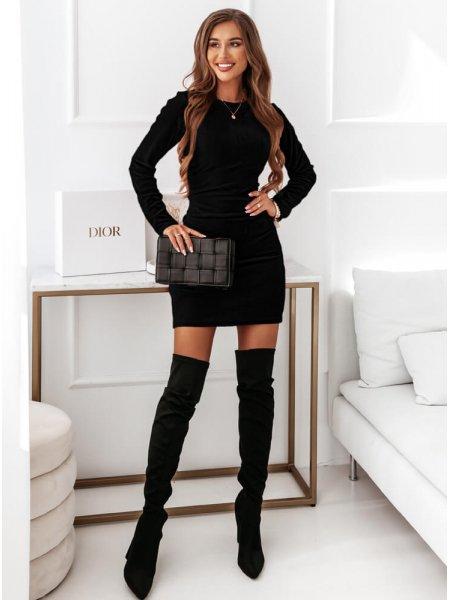 Czarna sukienka welurowa z...