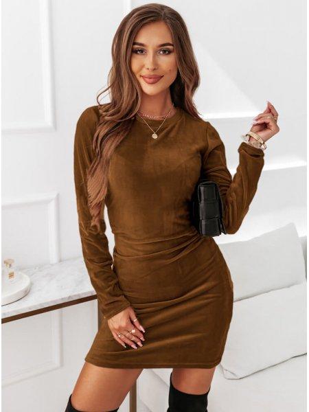Karmelowa sukienka welurowa...