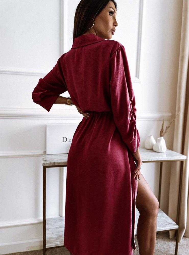 Bordowa sukienka ze ścigaczami na...